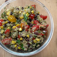 Beanoa (aka Quinoa Salad with Black Beans, Tomatoes, Corn, and Rajas)