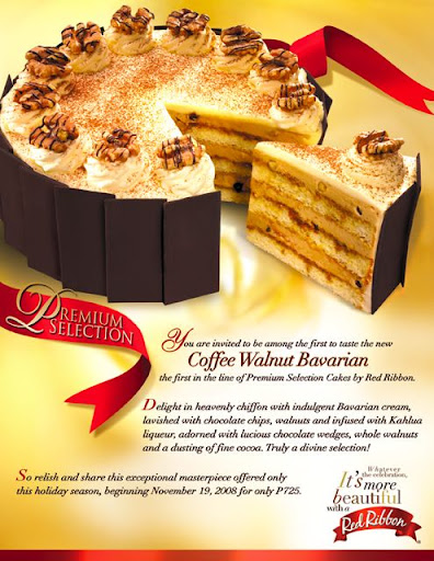 Red Ribbon's The Coffee Walnut Bavarian Holiday Cake Tasting