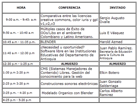Cronograma FLISOL 2011 Medellín Conferencias