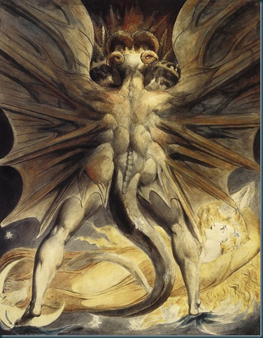 dragons ilustación de William Blake