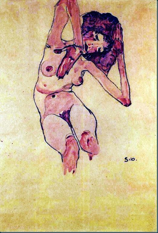 Schiele - Sitzender Akt - 1910