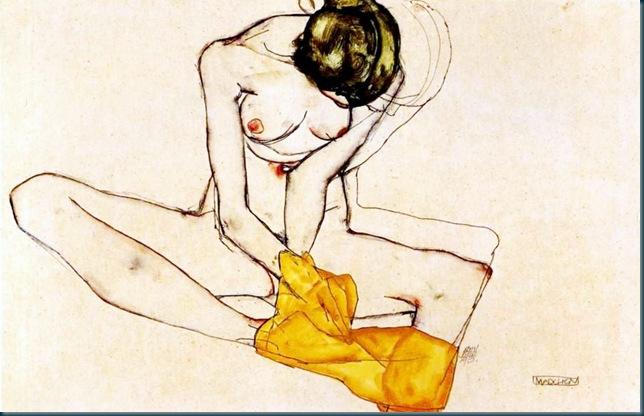 Schiele - Sitzende mit gelben Tuch - 1910