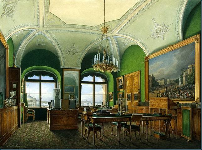 Los interiores del Palacio de Invierno. Amplia oficina del emperador Nicolás I