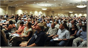 crowd attending EPA hearing on fracking in Canonsburg Pa in July 2010