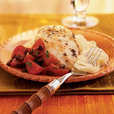 Chicken with Cherry Tomato and Olive Topping