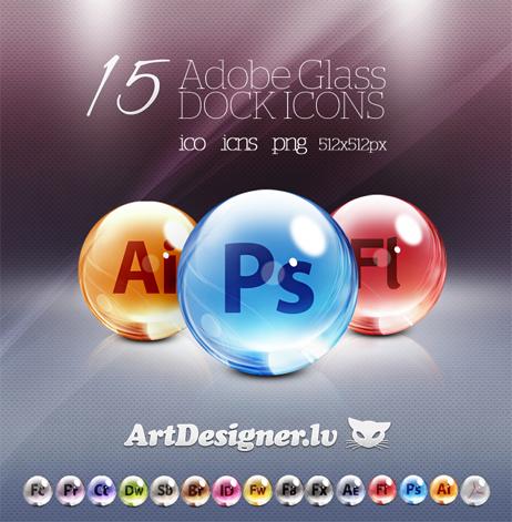 Adobe CS 5  Glass Dock icons ICO, ICNS, PNG ,512×512