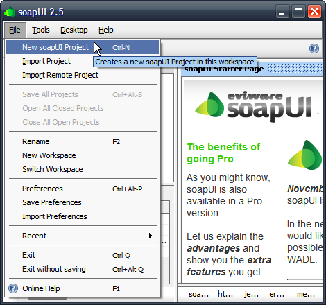 soapUI New Project