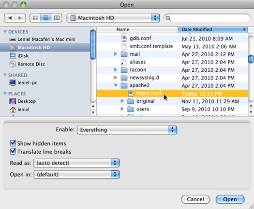 Editing a hidden file with BBEdit