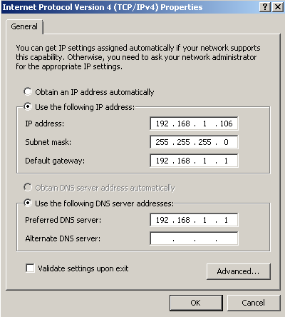 Windows 7 VM with fixed IP address