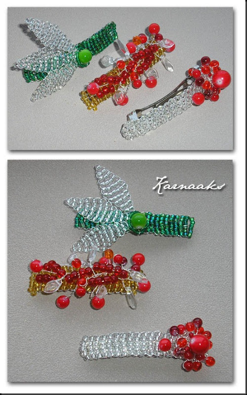 beaded hairclips