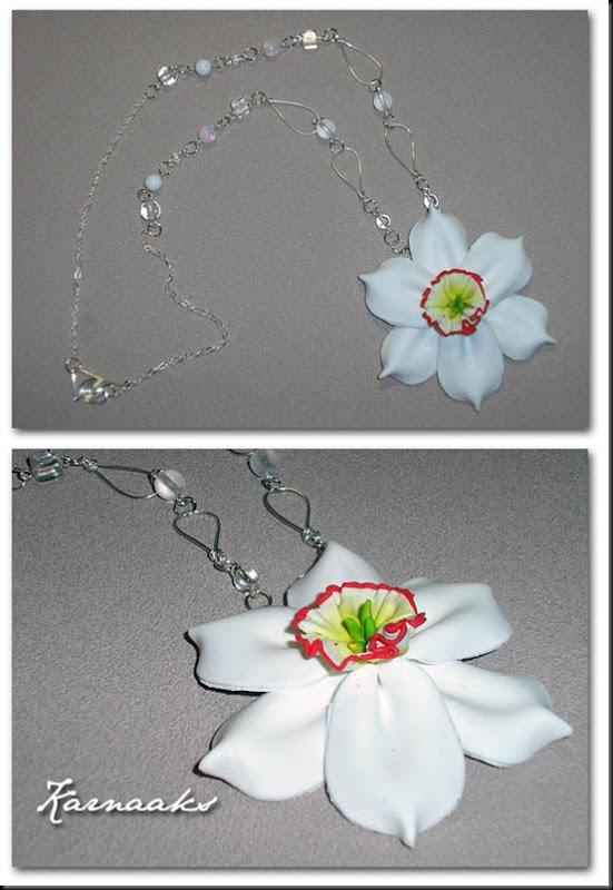 clay daffodil pendant
