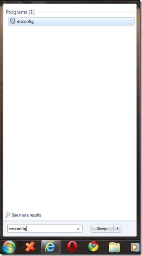 Start menu msconfig
