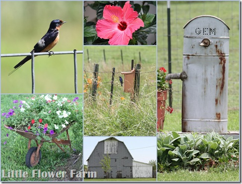 birds barn flowers mosaic