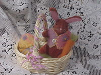 Dolly Easter Basket with Teeny Bunny, Needle Felted Egg and Chick - Pink/Yellow