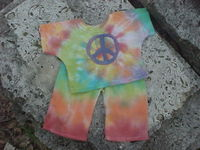 Peace (or plain)Tie Dye Doll Pajamas