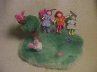 Needlefelted Wool Playscape with Bunny, Bird, Ball