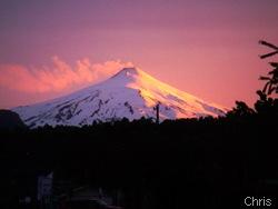 vulcão villarrica ao entardecer, Pucon
