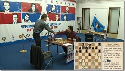 Grischuk shaking hands with Kramnik
