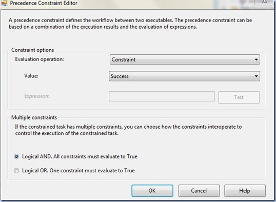 SSIS - Precedence Constraint Editor