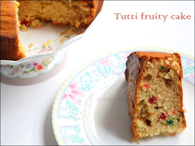 Tutti fruity eggless sponge cake