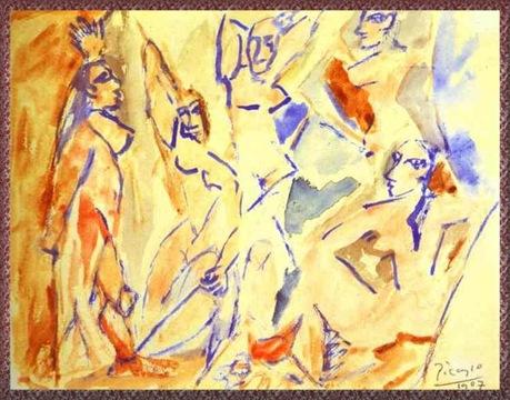 Набросок для Les Demoiselles d'Avignon-1907