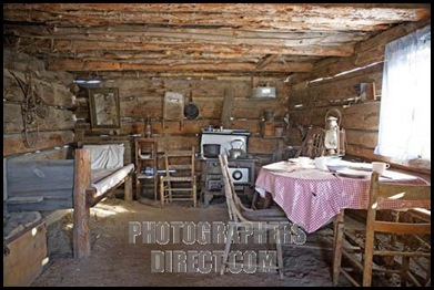 Stock Photo of the Interior of a Pioneer Cabin Home