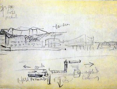 Dibujo de Le Corbusier sobre el Hotel Formentor