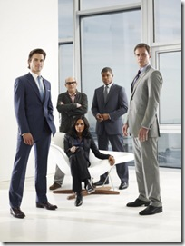 WHITE COLLAR -- Season:2 -- Pictured: (l-r) Tim Dekay as Peter Burke, Willie Garson as Mozzie, Marsha Thomason as Diana Lancing, Matt Bomer as Neal Caffrey, Sharif Atkins as Jones -- Photo by: Eric Ogden/USA Network