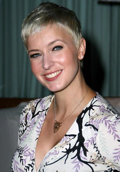 Diablo Cody wearing a short blonde hairstyle while attending Nylon Magazine