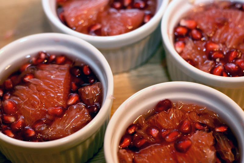 grapefruit and pomegranate in white tea jelly
