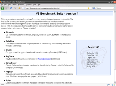 V8 Benchmark Suite - version 4 on Mozilla Firefox 3.0.10