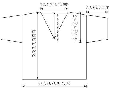 The schematic of the finished V-neck