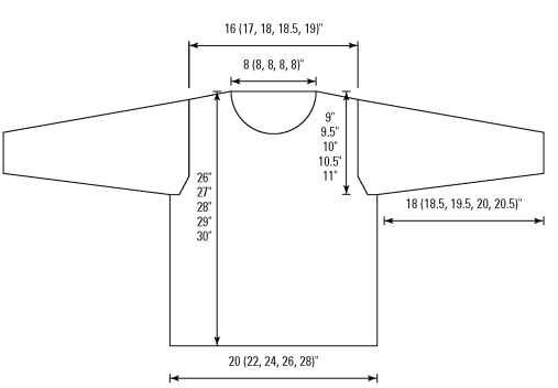 The schematic of the finished rollneck pullover.