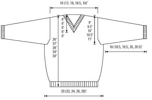 The schematic of the men's sweater.