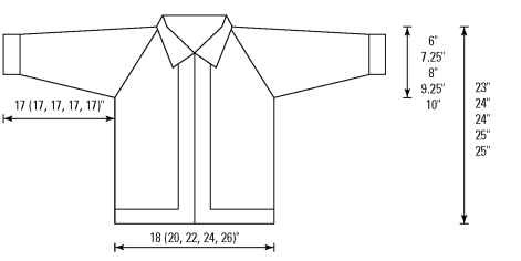 A schematic of the bulky zipped cardigan.
