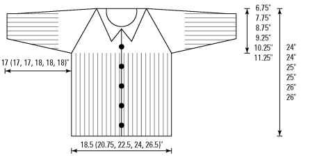 The schematic of the half-ribbed raglan cardigan.