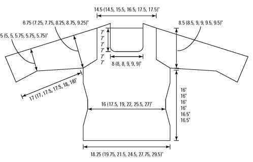 The measurements of the scoop-neck pullover.