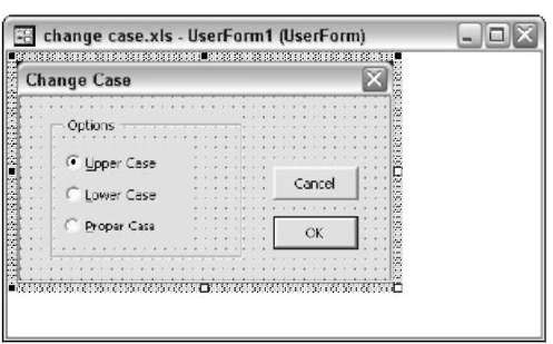 The UserForm for the Change Case add-in.