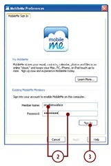 Enter your MobileMe member name and password.