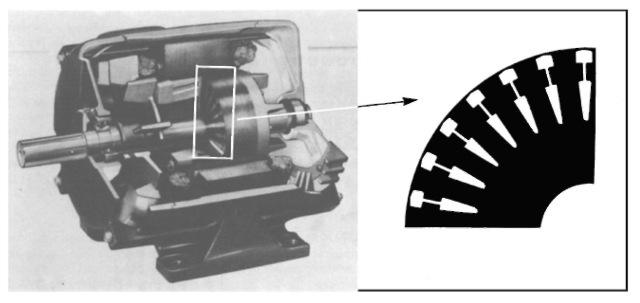 NEMA design C drip-proof polyphase induction motor.