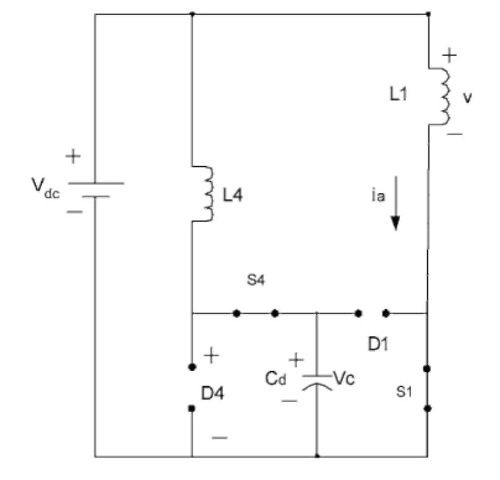 Equivalent circuit when S1 and S4 are on and D1 and D4 are off.