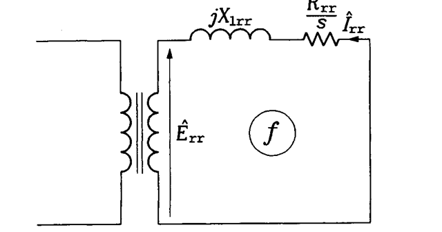 Transformed rotor part of the per-phase equivalent circuit of a rotating induction motor.