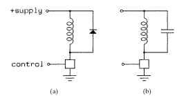 Voltage-spike control with (a) a diode and (b) a capacitor.