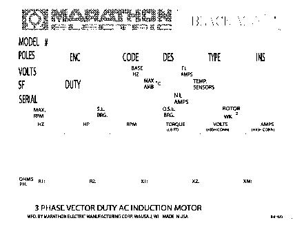 AC motor nameplate