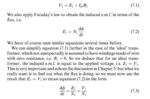 equation 73 shows that the rate of change of flux at any instant is determined by the applied voltage so if we want to know how the flux behaves in time