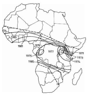 Spread of the cassava green mite from its point of introduction near Kampala in 1971.