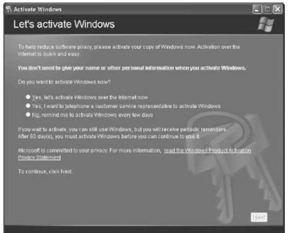 activation windows xp telephone
