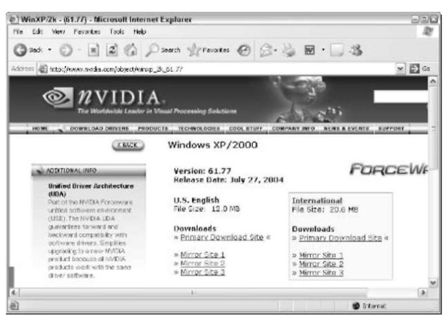 The driver information on NVIDIA's Web site doesn't match Microsoft's description.