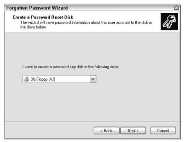 """A """"password key disk"""" is a password reset disk."""