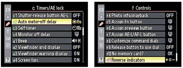 You can customize the behavior of the exposure meter.